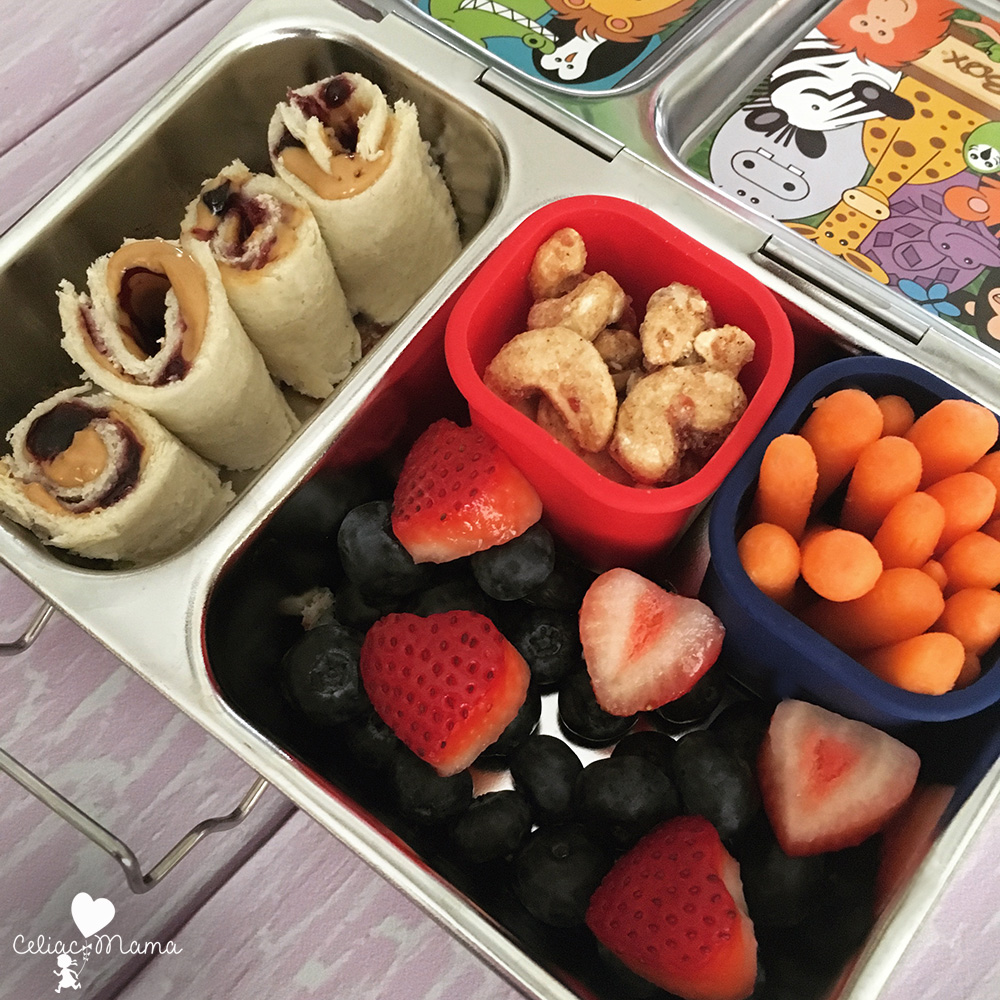almond butter sushi rolls lunch box