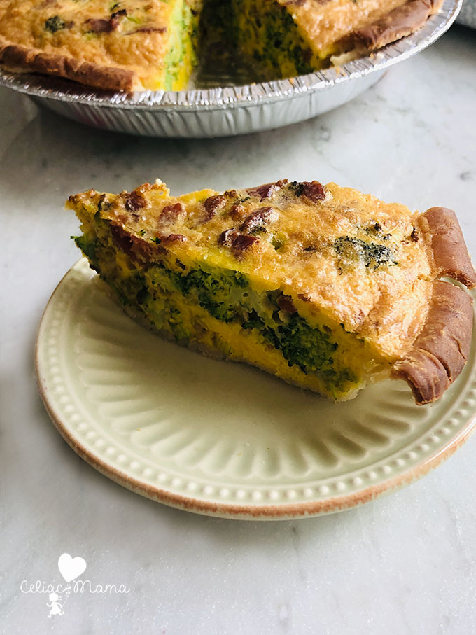 slice of vegetable bacon quiche