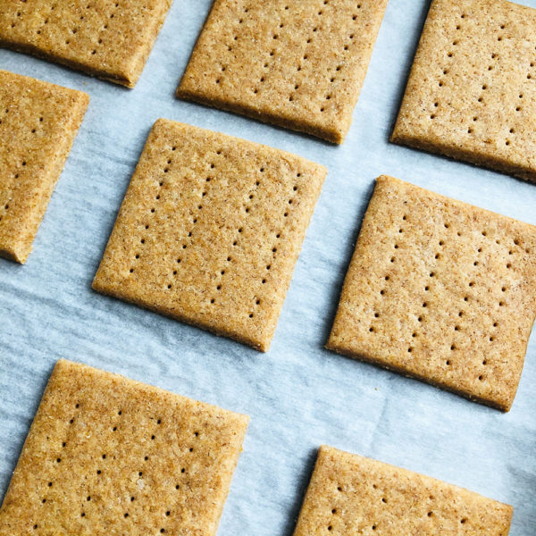 graham crackers on parchment paper