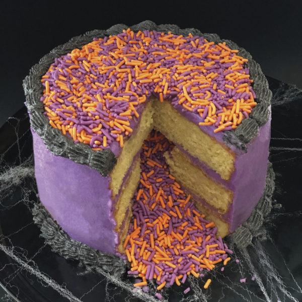 purple and black sprinkle cake