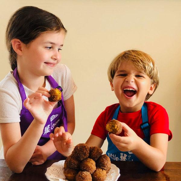 kids eating donut holes