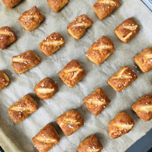 pretzels on baking sheet
