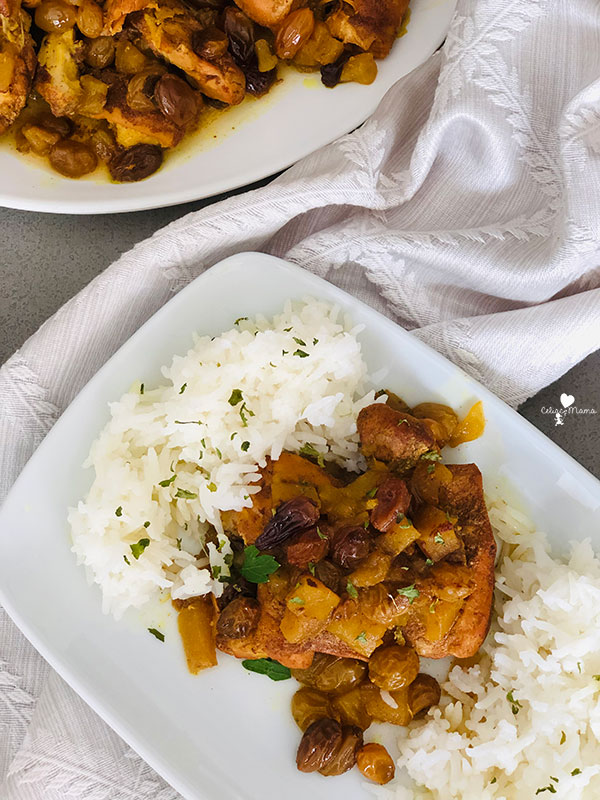 apple chicken with golden raisins served over basmati rice