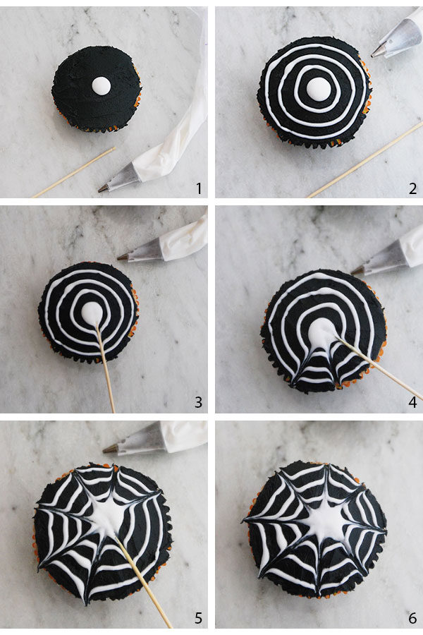 how to decorate spider cupcakes