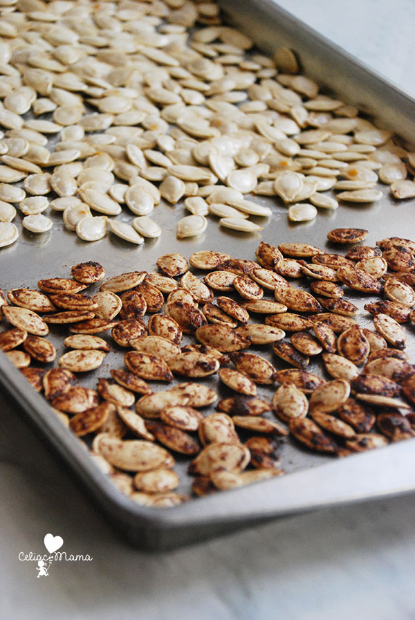 tray of sweet-salty-roasted-pumpkin-seeds